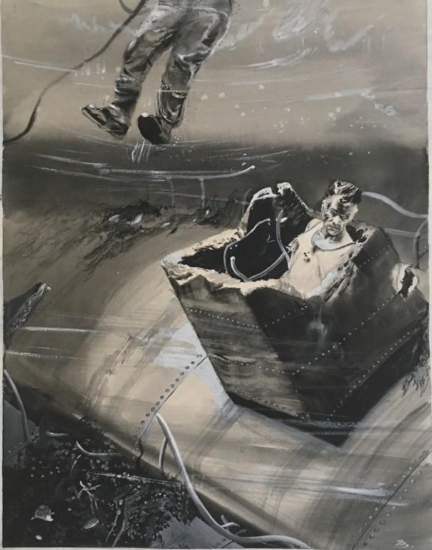 Zdeněk Burian, Vědec na dně mořském, ilustrace, Retro Gallery