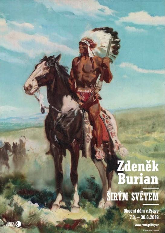 plakát A1, Zdeněk Burian: Širým světem, Vinnetou