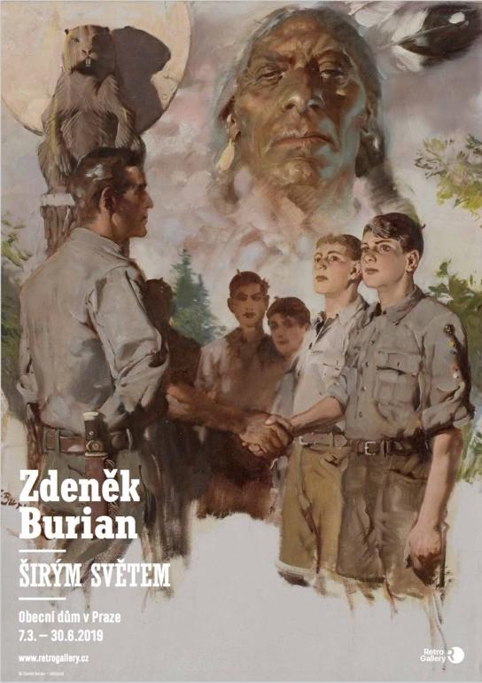 Hoši od Bobří řeky, plakát A3, Zdeněk Burian, Širým světem